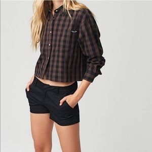 Volcom |Long sleeves crop button Down plaid Shirt